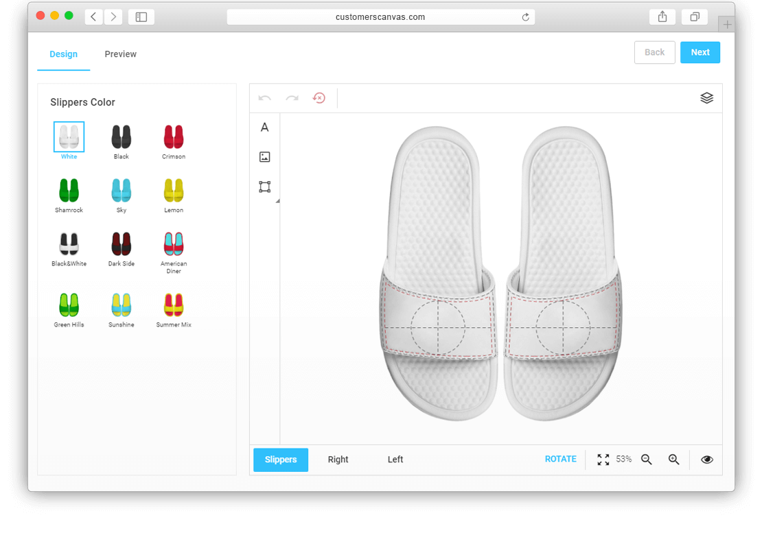 Slippers with color options screenshot