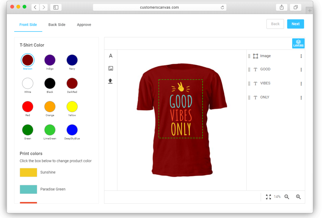 New online demos: Use various features to create T-shirt designs