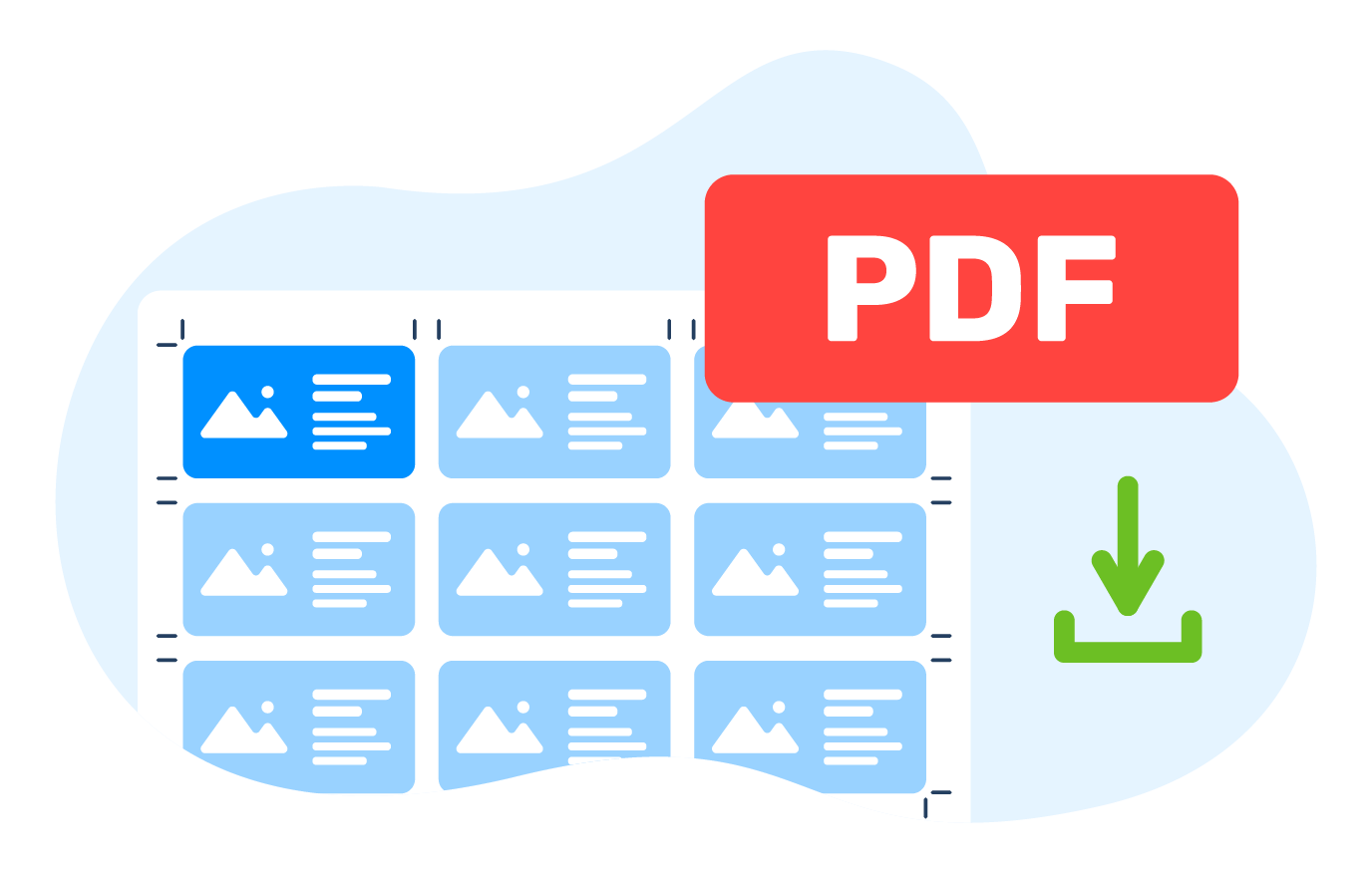Download a PDF file with the imposed sheet