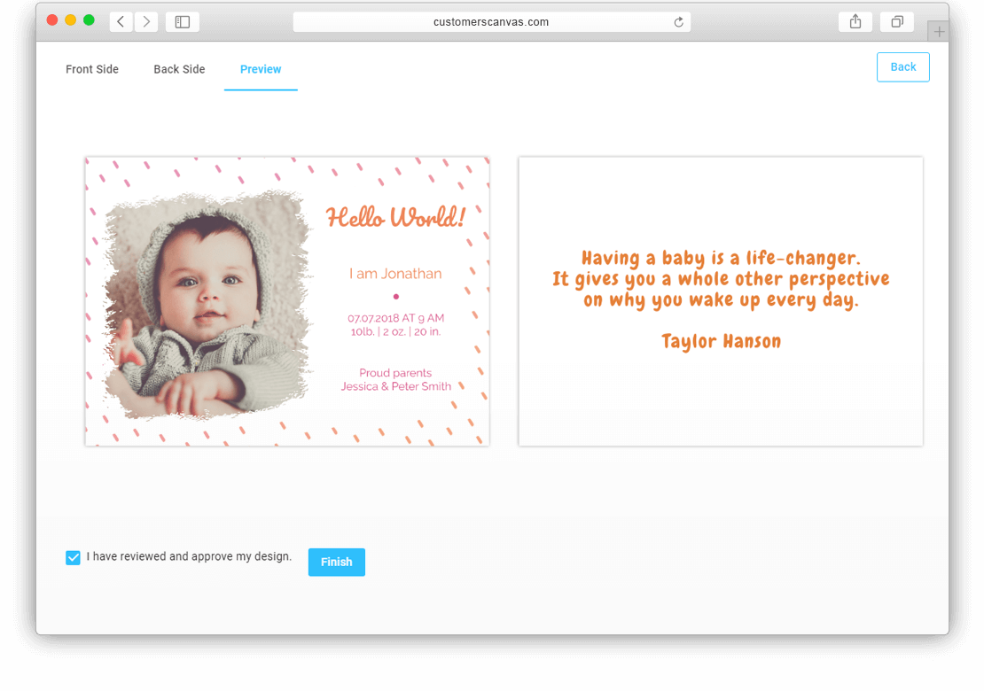 Birth announcement screenshot 3